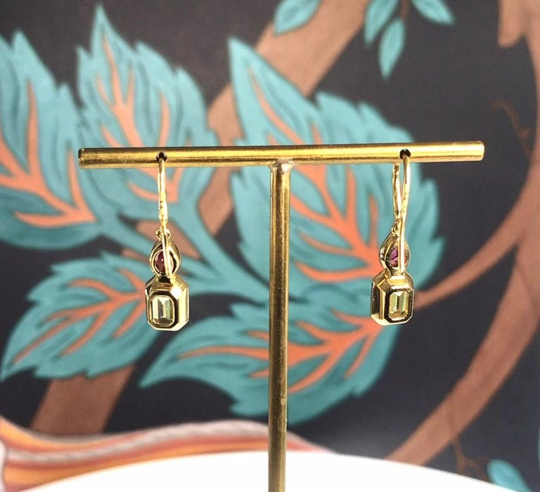Haruni Pear Shape Ruby and Yellow Emerald Cut Sapphire Drop Earrings In New Condition For Sale In London, GB