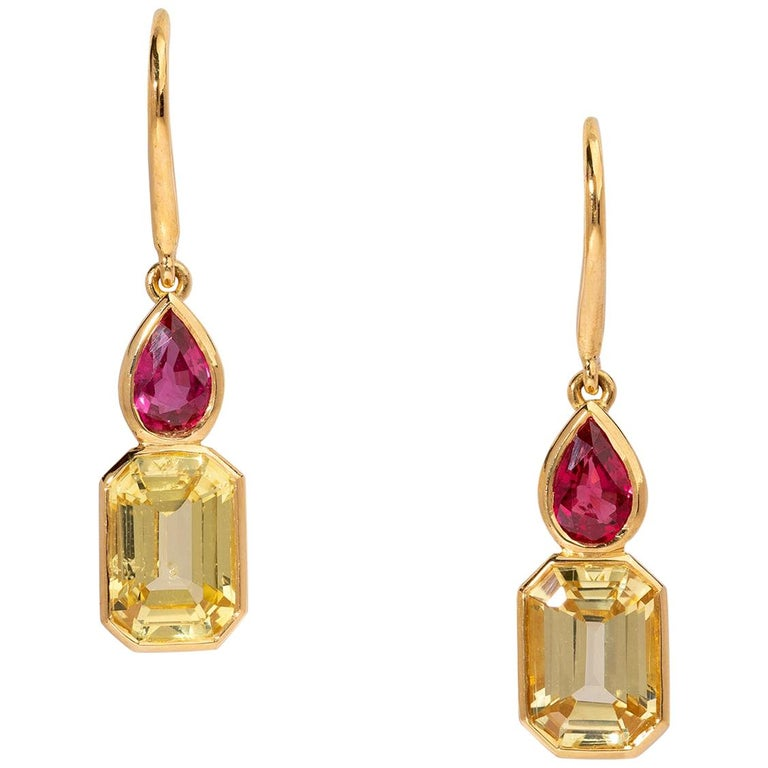 Haruni Pear Shape Ruby and Yellow Emerald Cut Sapphire Drop Earrings For Sale
