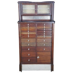 Harvard Co Style 86 Antique Mahogany Oak & Marble Apothecary Dental Cabinet