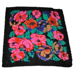 "Harve Bernard ""Bursting Roses"" with Black  Wool Challis Scarf"