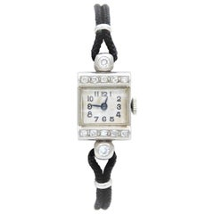 Harvel Ladies Palladium Diamond Art Deco Manual Wristwatch, circa 1930