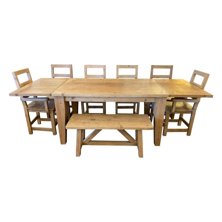 Superb Harvest Home Dining Table With 2 Leaves Bench And 6 Chairs Gmtry Best Dining Table And Chair Ideas Images Gmtryco