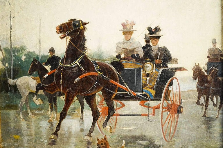 Harvey James Pair of Oil on Canvas Walks in Carriages, circa 1850 For Sale 4