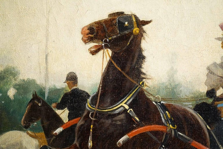 Harvey James Pair of Oil on Canvas Walks in Carriages, circa 1850 For Sale 6