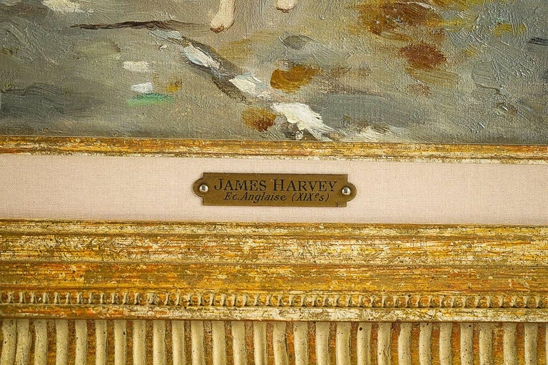 Harvey James Pair of Oil on Canvas Walks in Carriages, circa 1850 For Sale 10