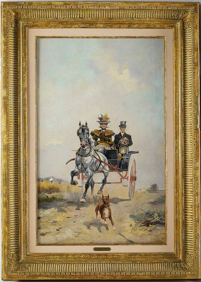 English Harvey James Pair of Oil on Canvas Walks in Carriages, circa 1850 For Sale