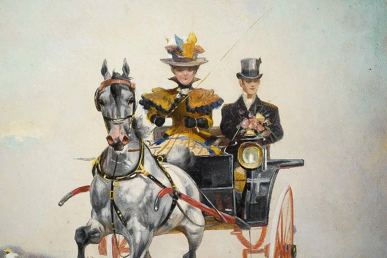 Oiled Harvey James Pair of Oil on Canvas Walks in Carriages, circa 1850 For Sale