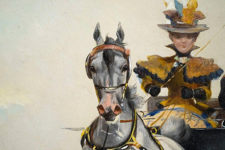 Harvey James Pair of Oil on Canvas Walks in Carriages, circa 1850 In Good Condition For Sale In Saint Ouen, FR