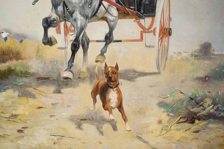 19th Century Harvey James Pair of Oil on Canvas Walks in Carriages, circa 1850 For Sale