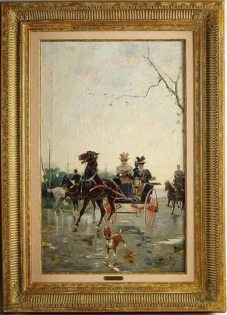 Harvey James Pair of Oil on Canvas Walks in Carriages, circa 1850 For Sale 3