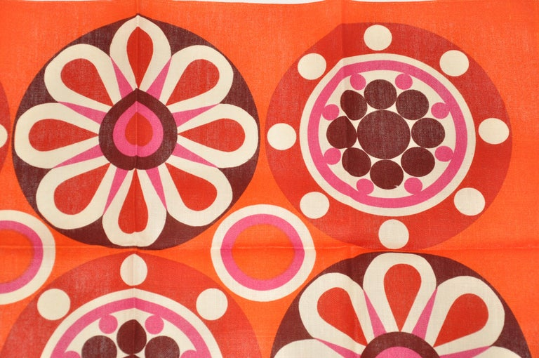 Red Harvey Lago for Link - Hampson Vivid Tangerine Irish Linen Tablecloth For Sale