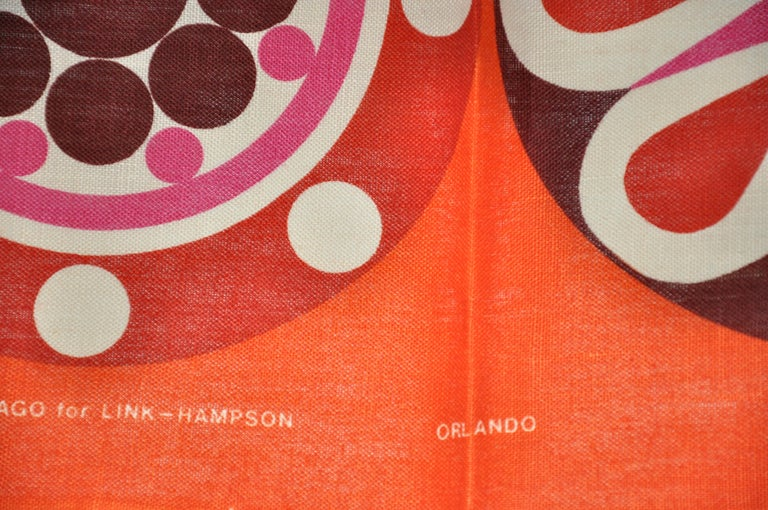 Harvey Lago for Link - Hampson Vivid Tangerine Irish Linen Tablecloth In Good Condition For Sale In New York, NY