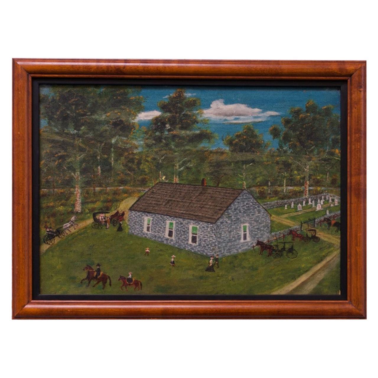 Harvey Milligan Amish Farmhouse Pastoral Scene Oil on Canvas