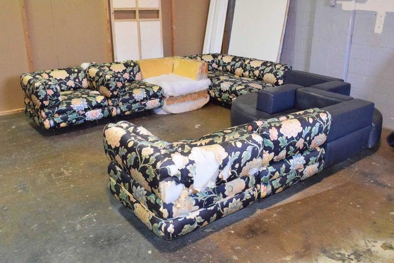 Brass Harvey Probber 11 Piece Cubo Modular Sofa For Sale
