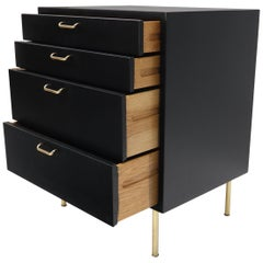 Harvey Probber Black Lacquer Mahogany Brass Hardware and Legs 4 Drawer Chest