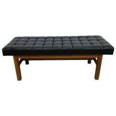 Harvey Probber Black Vinyl Biscuit Tufted Walnut Bench or Ottoman, USA, 1960s