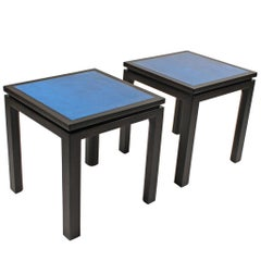 Harvey Probber Blue Enameled Copper and Espresso Mahogany Side Tables