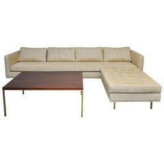 Harvey Probber Brass Base Sofa, Ottoman, Coffee Table