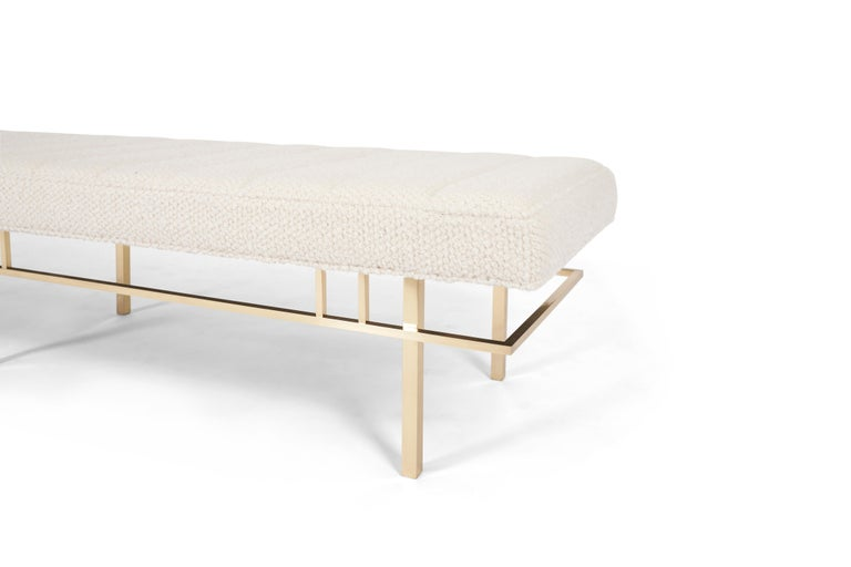 American Harvey Probber Brass Frame Bench, 1950s For Sale