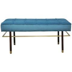 Harvey Probber Brass Frame Bench in Blue Velvet