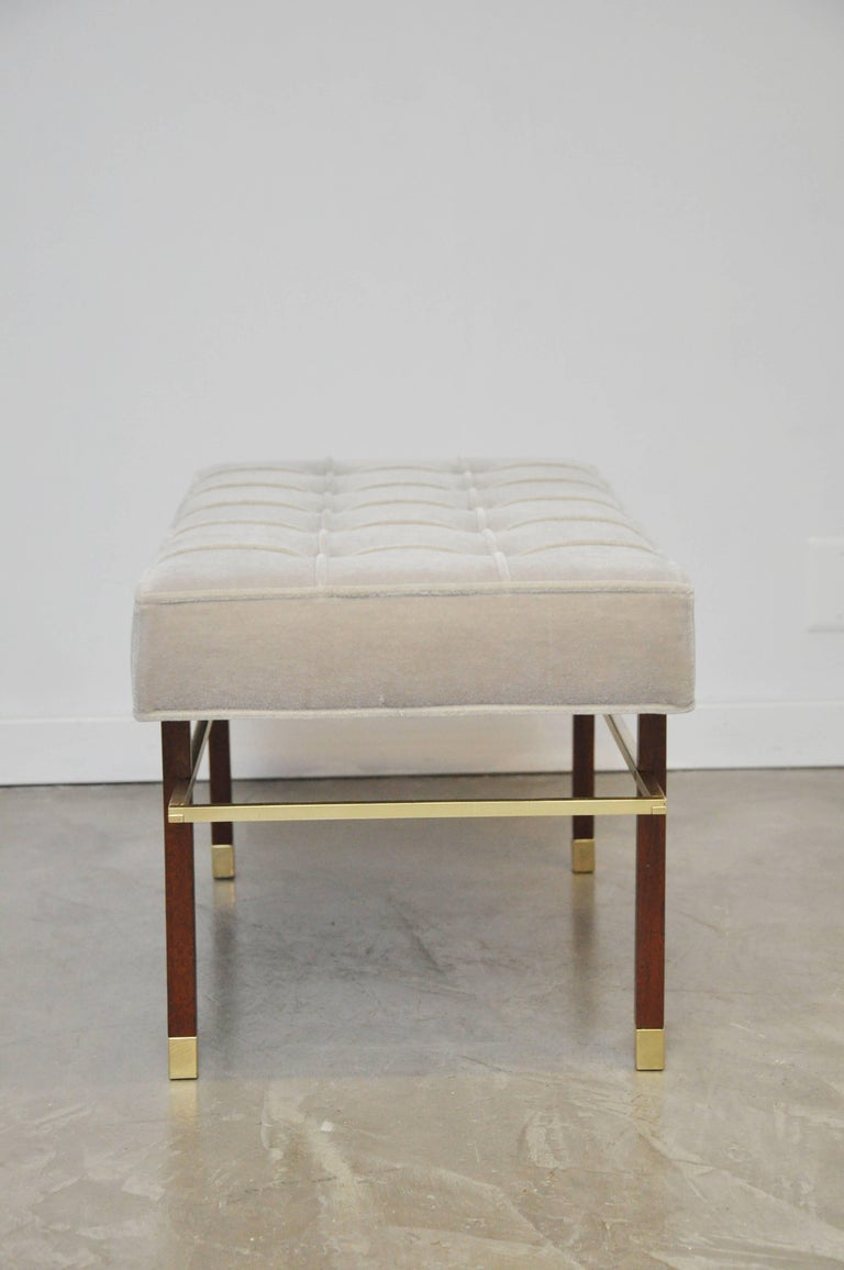 Harvey Probber brass frame bench with walnut legs and brass caps. Fully restored. New smoke grey mohair upholstery.