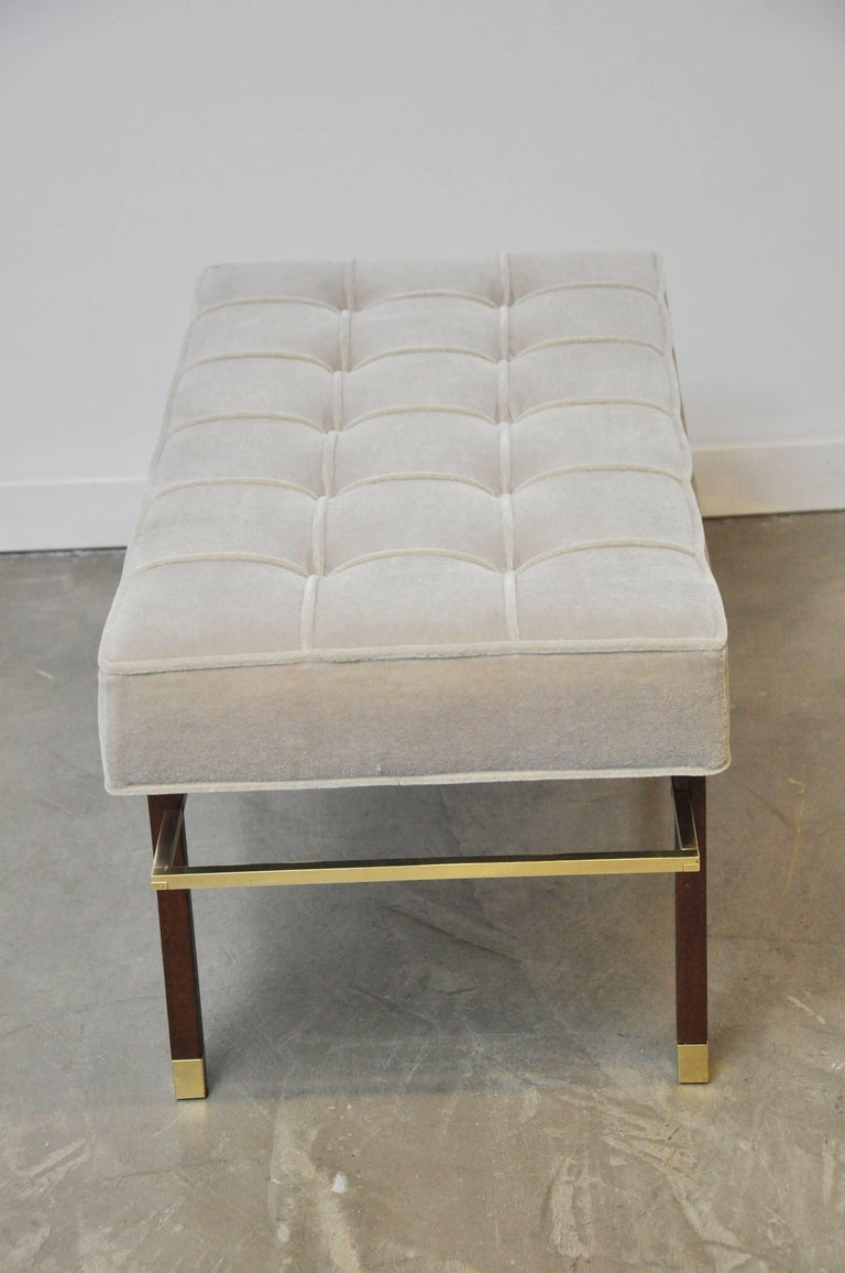 Harvey Probber Brass Frame Bench in Grey Mohair In Excellent Condition For Sale In Chicago, IL