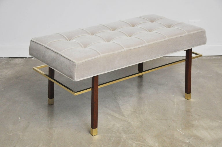20th Century Harvey Probber Brass Frame Bench in Grey Mohair For Sale