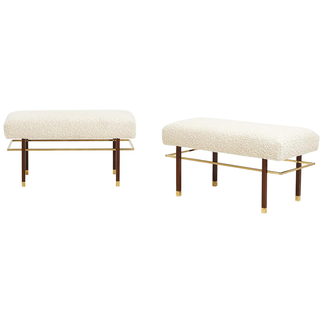 Harvey Probber Brass Frame Benches in White Boucle, Circa 1950
