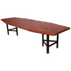 Harvey Probber Brazilian Rosewood Boat-Shaped Extension Dining Table, Restored