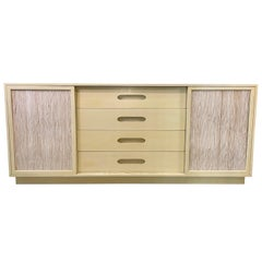 Harvey Probber Cabinet of Drawers with Sliding Grasscloth Doors