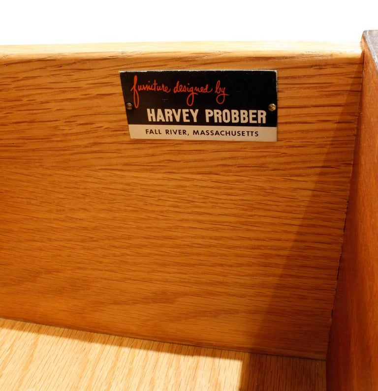 Harvey Probber Credenza with Carpathian Elm Doors and Base 1950s 'Signed' For Sale 3