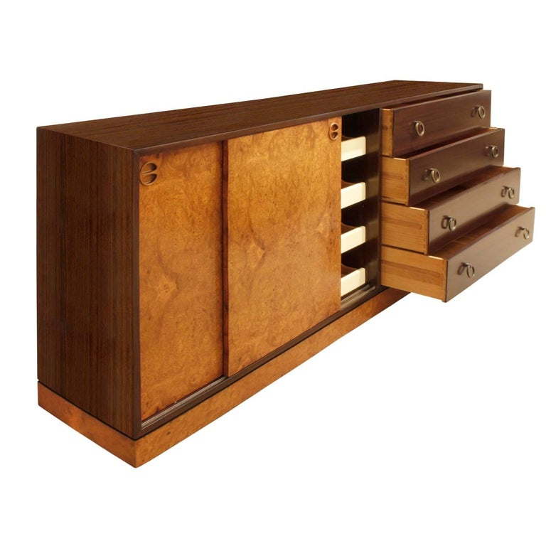 Hand-Crafted Harvey Probber Credenza with Carpathian Elm Doors and Base 1950s 'Signed' For Sale