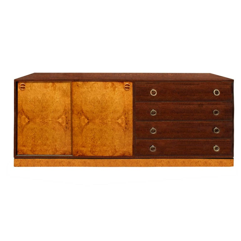 Harvey Probber Credenza with Carpathian Elm Doors and Base 1950s 'Signed'