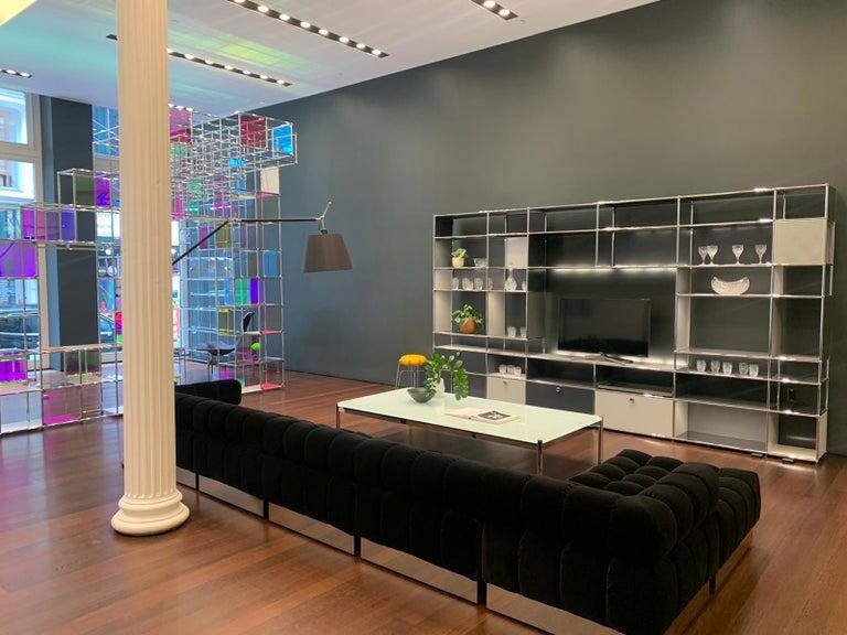 Harvey Probber Deep Tuft Black Modular Sofa Upholstered in Raf Simmons Velvet  For Sale 5