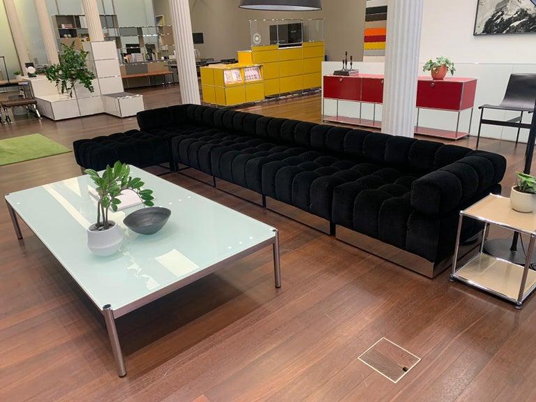 Harvey Probber Deep Tuft Black Modular Sofa Upholstered in Raf Simmons Velvet  For Sale 8