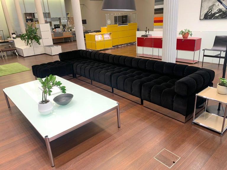 Harvey Probber Deep Tuft Black Modular Sofa Upholstered in Raf Simmons Velvet  For Sale 10