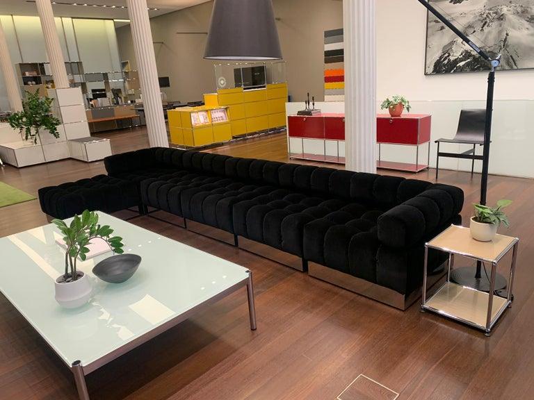 Harvey Probber Deep Tuft Black Modular Sofa Upholstered in Raf Simmons Velvet  For Sale 11