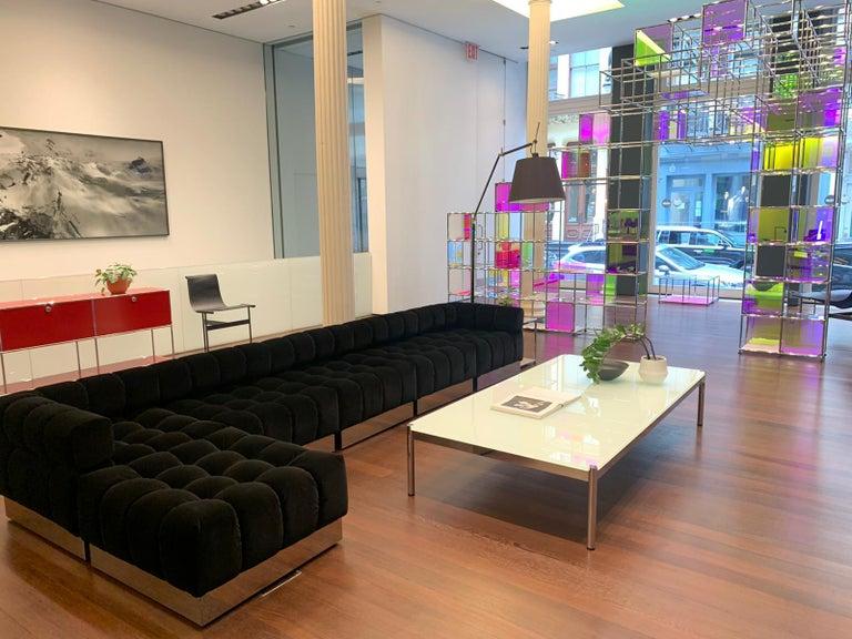 American Harvey Probber Deep Tuft Black Modular Sofa Upholstered in Raf Simmons Velvet  For Sale