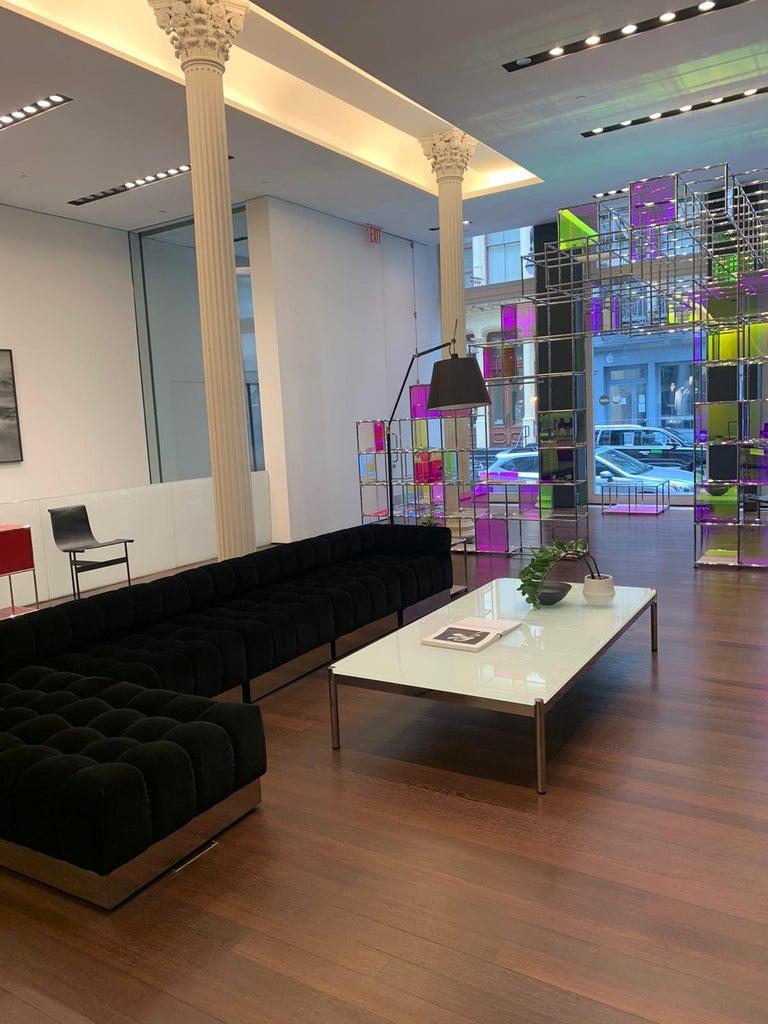 Harvey Probber Deep Tuft Black Modular Sofa Upholstered in Raf Simmons Velvet  In Excellent Condition For Sale In New York, NY