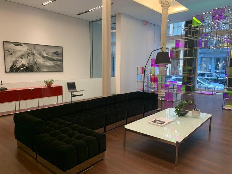 Contemporary Harvey Probber Deep Tuft Black Modular Sofa Upholstered in Raf Simmons Velvet  For Sale