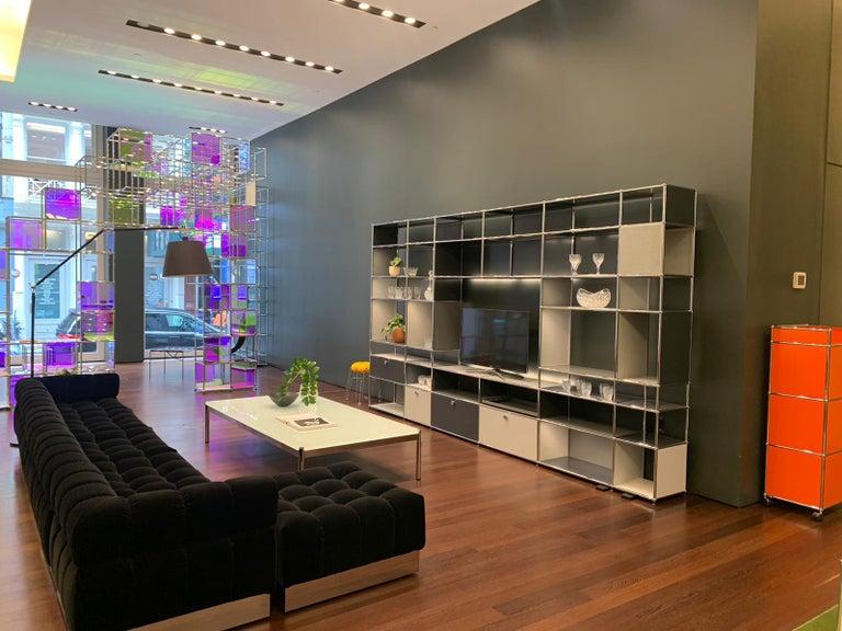 Harvey Probber Deep Tuft Black Modular Sofa Upholstered in Raf Simmons Velvet  For Sale 1