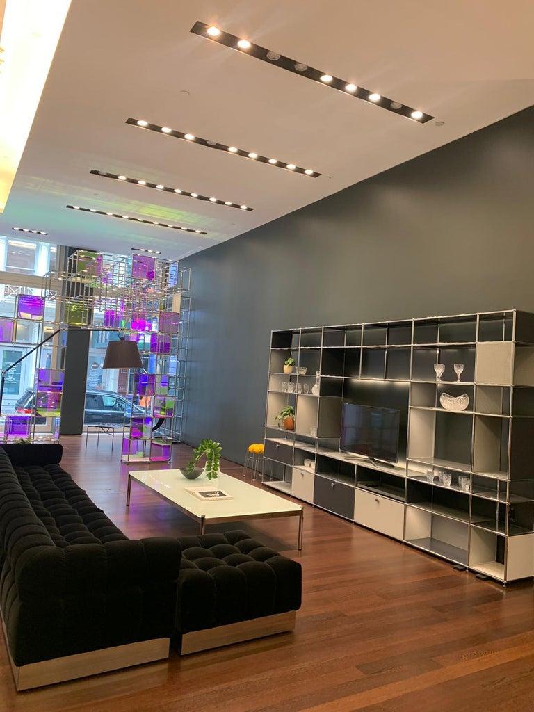 Harvey Probber Deep Tuft Black Modular Sofa Upholstered in Raf Simmons Velvet  For Sale 2