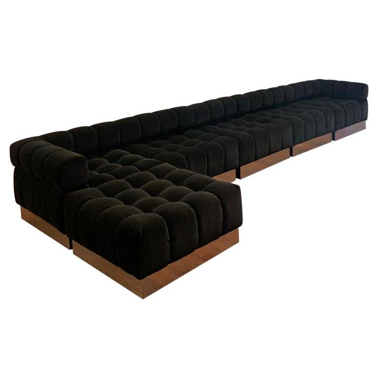 Harvey Probber Deep Tuft Black Modular Sofa Upholstered in Raf Simmons Velvet  For Sale