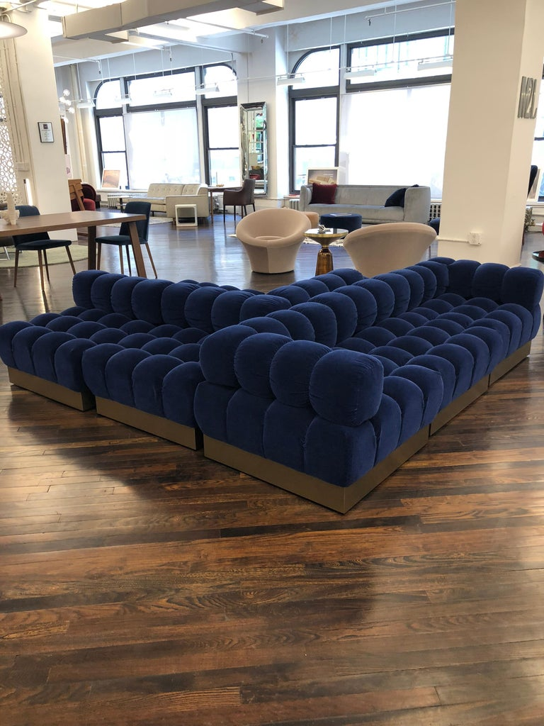 Harvey Probber deep tuft designed in 1972. M2L is the exclusive licensee to produce and distribute Harvey Probber designs. The deep tuft (eight) piece modular Consists of: (Two) HL5 ottomans, (four) HL6 backs, (two) HL7 corners Measures: