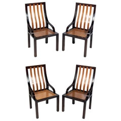 Four Mahogany and Caned Dining Chairs