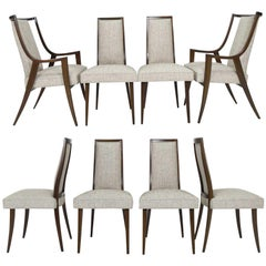 Harvey Probber Dining Chairs with New Tan/Gray Woven Upholstery, Set of Eight