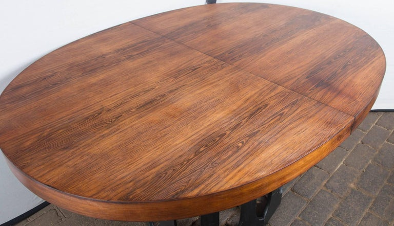 Beautiful Harvey Probber rosewood dining table. Two leaves with apron: 16 inches wide.