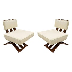 Harvey Probber Elegant Pair of Campaign Style Lounge Chairs, 1950s