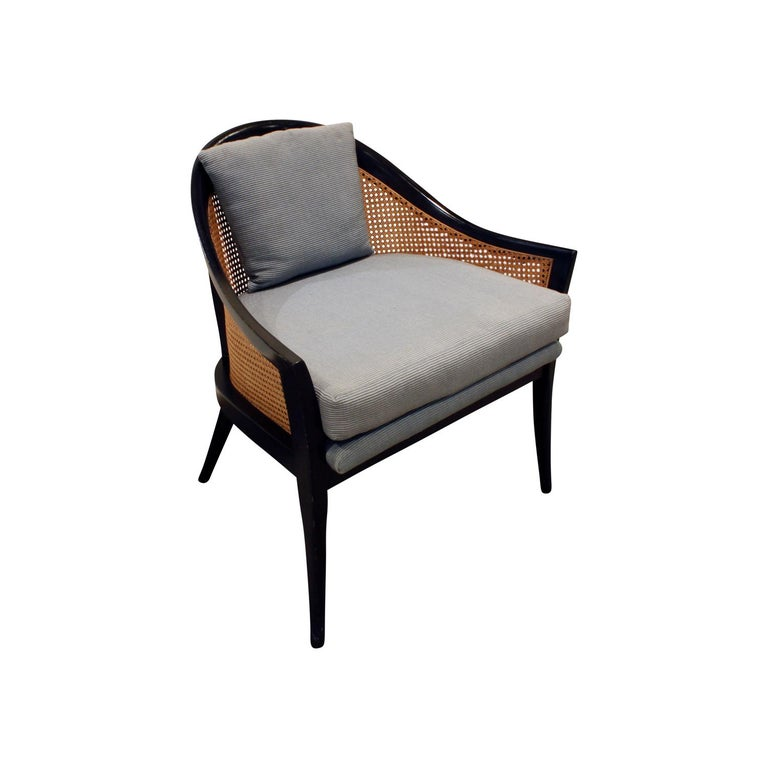 Mid-Century Modern Harvey Probber Elegant Pair of Lounge Chairs with Caned Backs and Sides, 1950s For Sale