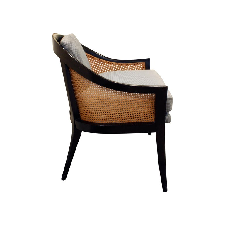 American Harvey Probber Elegant Pair of Lounge Chairs with Caned Backs and Sides, 1950s
